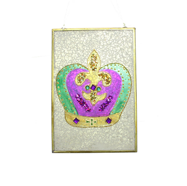 Crackled Mardi Gras Wall Hanging