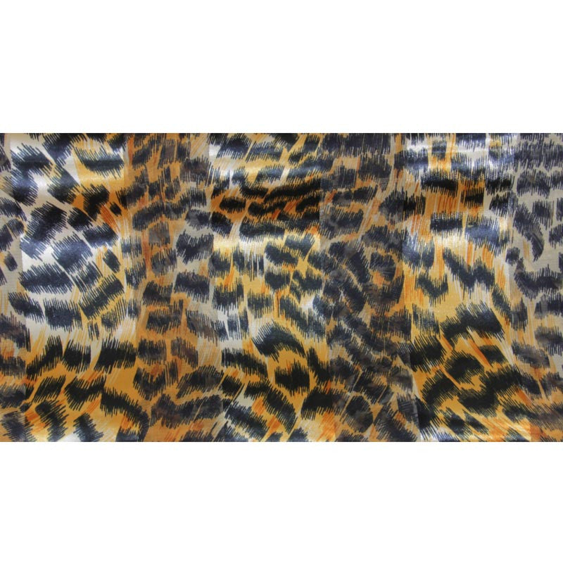 "Long Scarf 60"" x 13"" Animal Print Gold/Brown/Black Satin/Sheer"