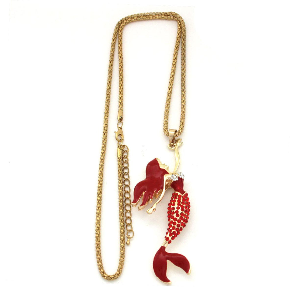 Mermaid Pendant Necklace Red Betsey Johnson