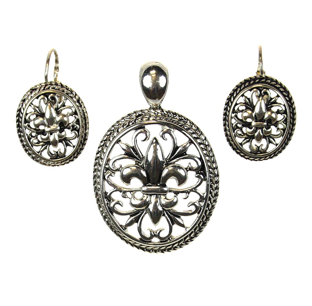 Fleur De Lis Pendant & Earrings Filigree