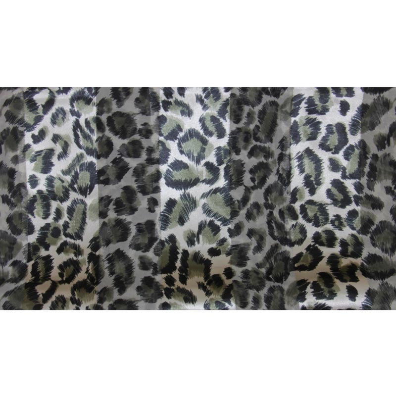 "Long Scarf 60"" x 13"" Animal Print Green/Black Satin/Sheer"