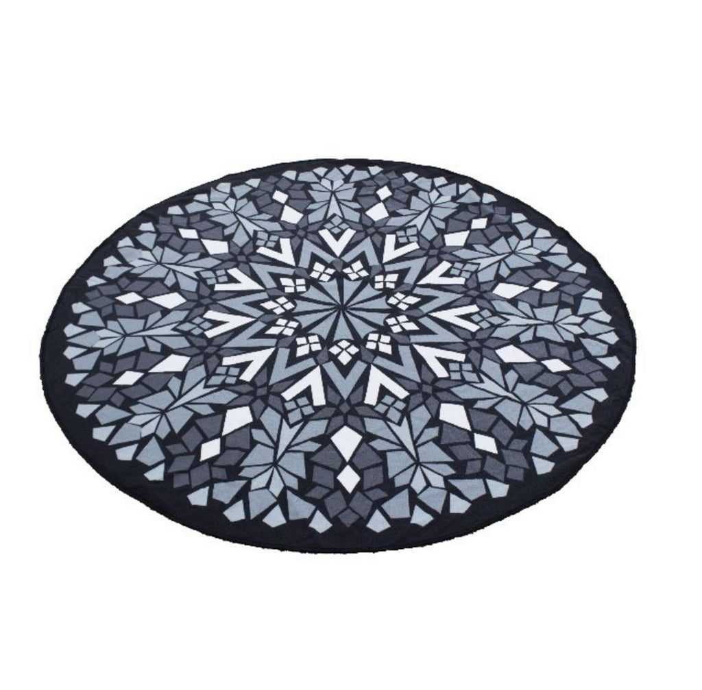 Geometric Round Beach Towel - Black