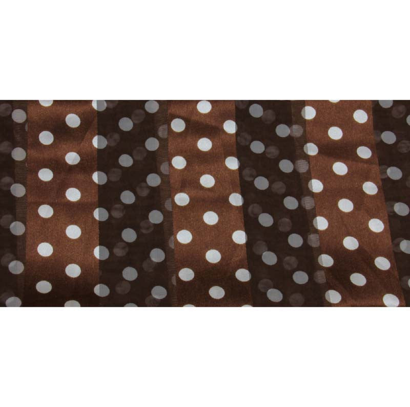 "Long Scarf 60"" x 13"" Brown w/Dots Design"