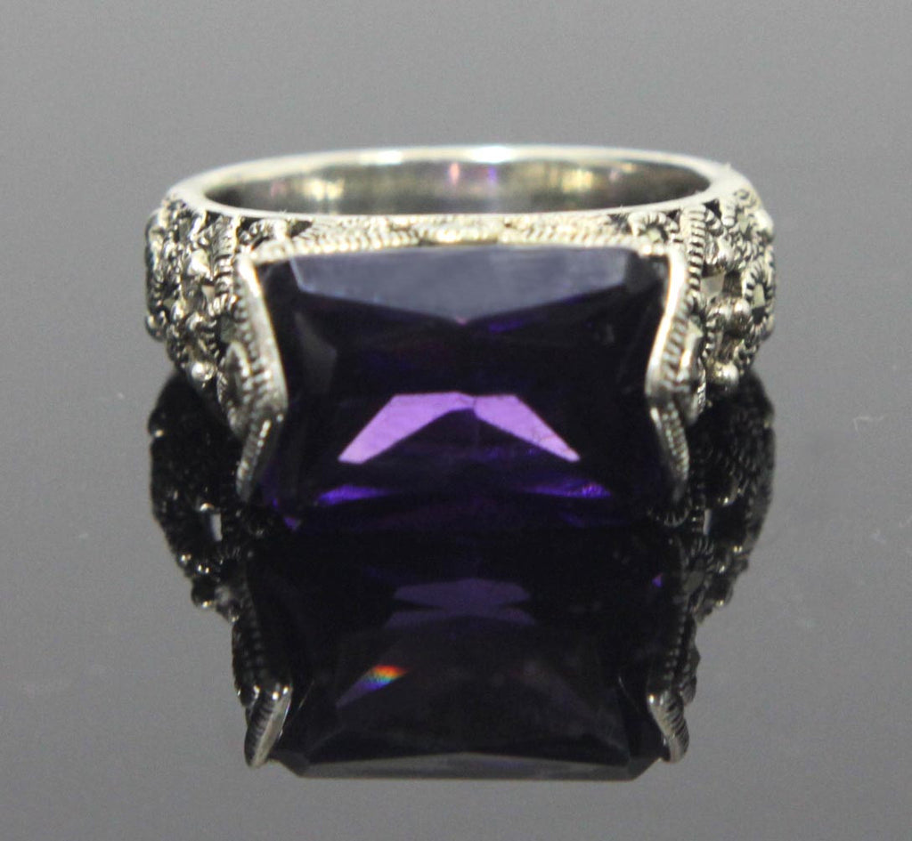 Sterling Silver Amethyst CZ Rectangle Ring Size 8