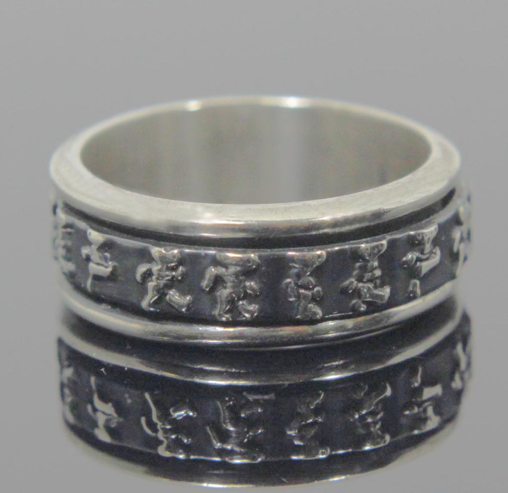 Sterling Silver Spinner Ring Character Design Size 8.5