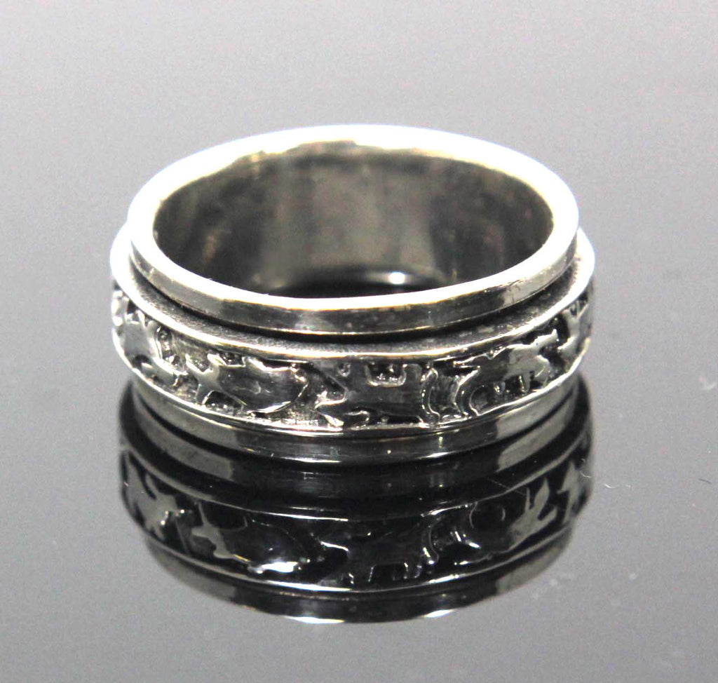 Sterling Silver Spinner Ring Critters Design Size 7.5