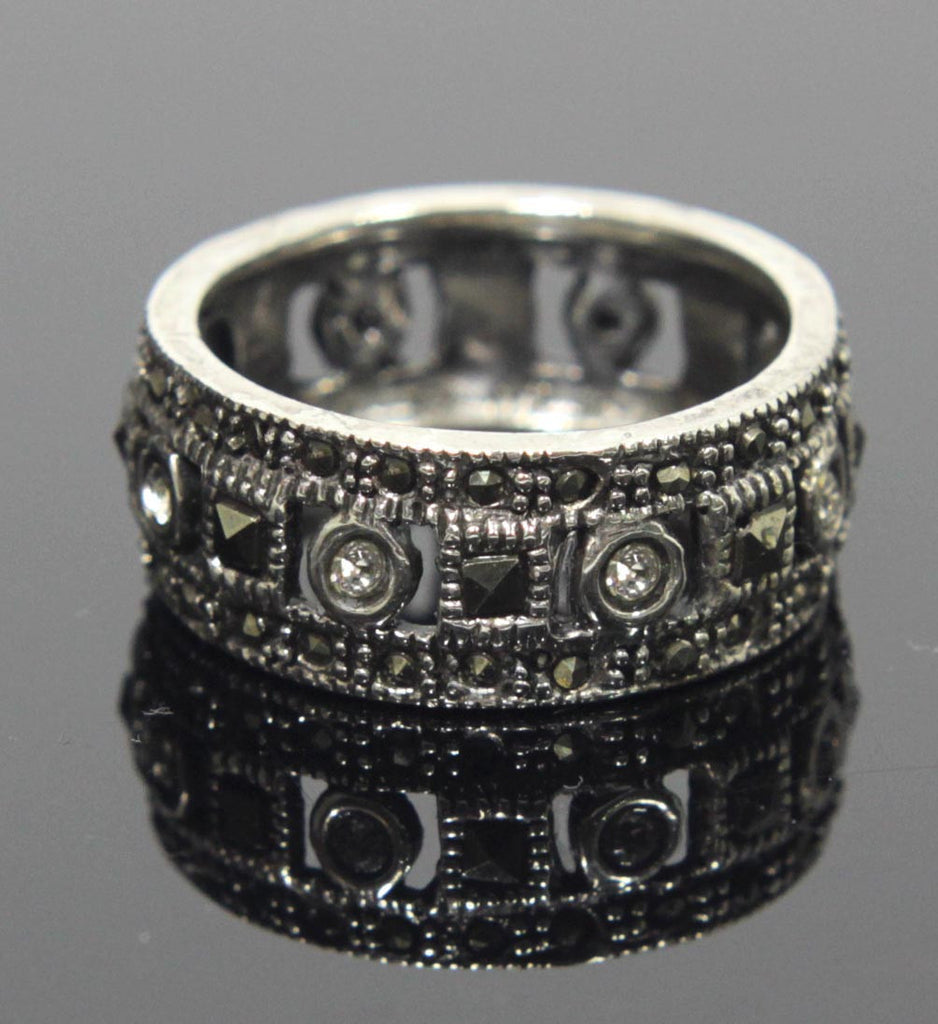 Sterling Silver Eternity Ring Zirconia & Marcasite Size 7.5