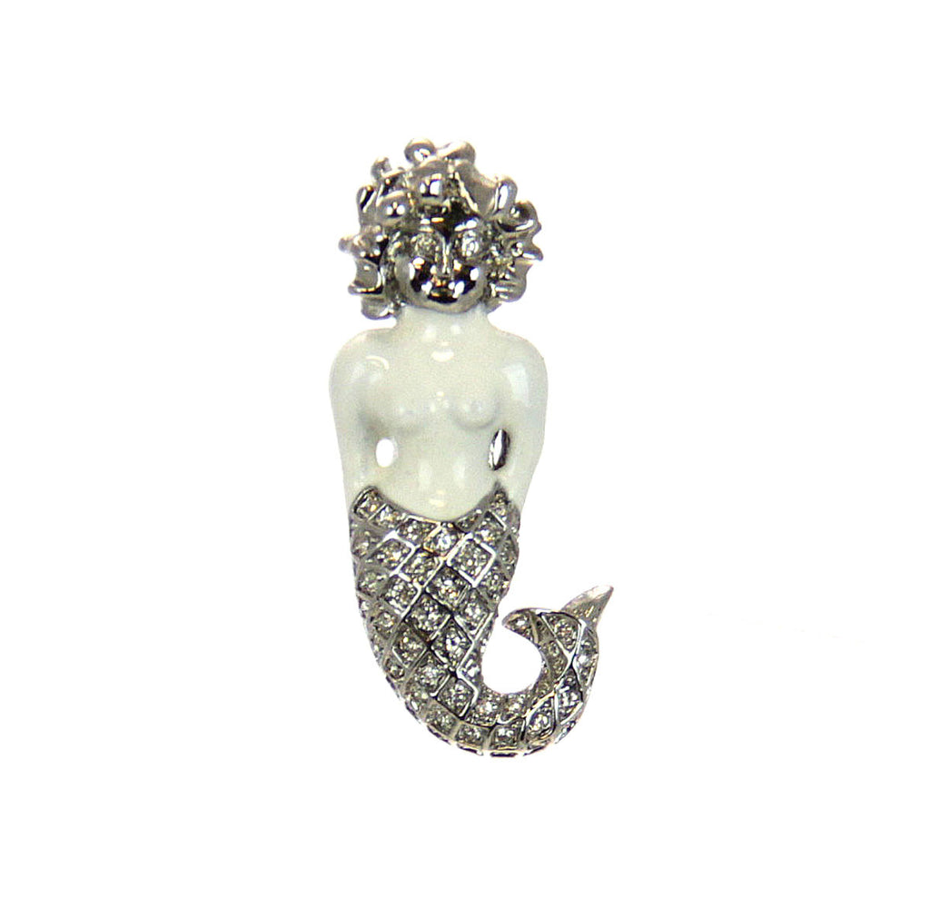 Mermaid Pin, Silver & White