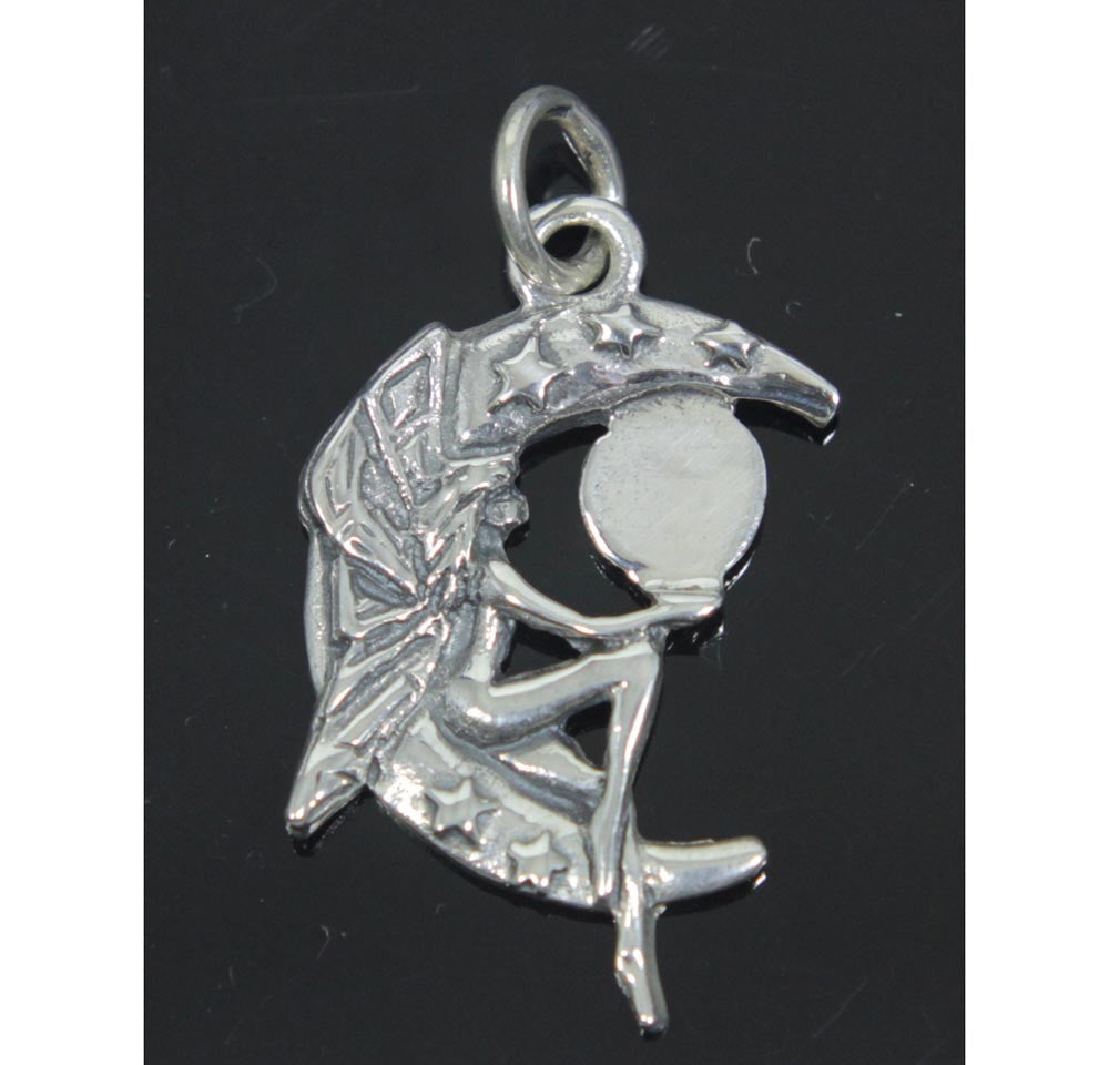 Fairy Moon Pendant Sterling Silver