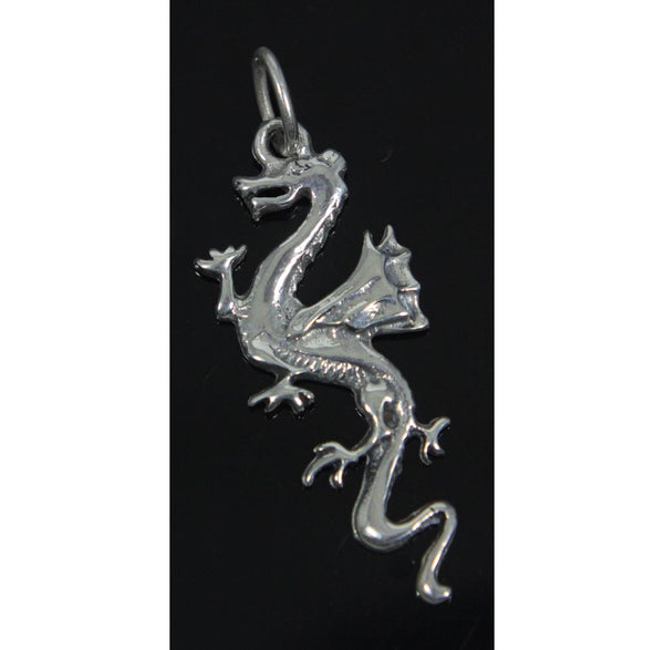 Dragon with Wings Pendant/Charm, Sterling Silver