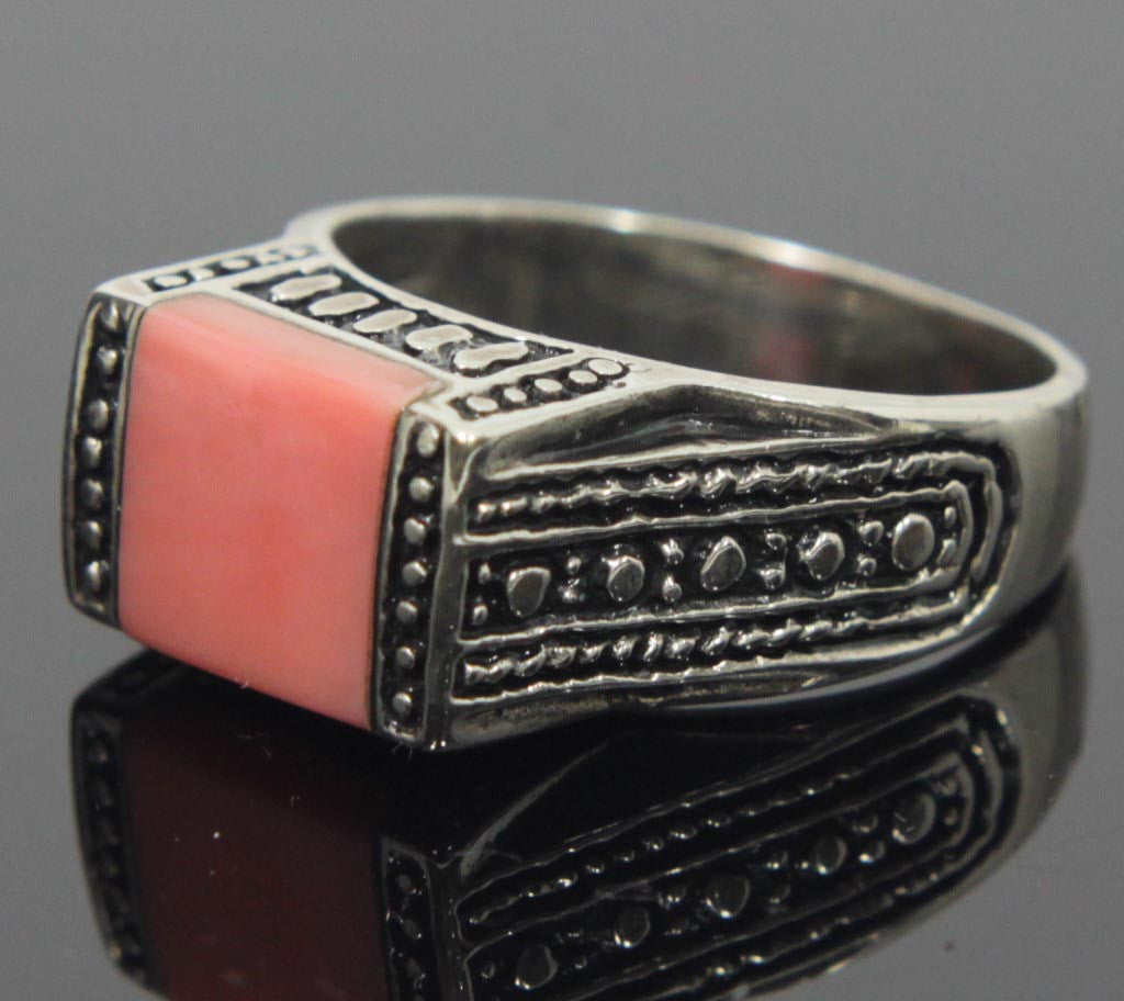Sterling Silver Coral Ring Size 8