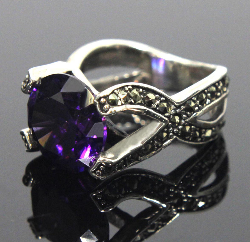 Sterling Silver Amethyst Ring Size 8