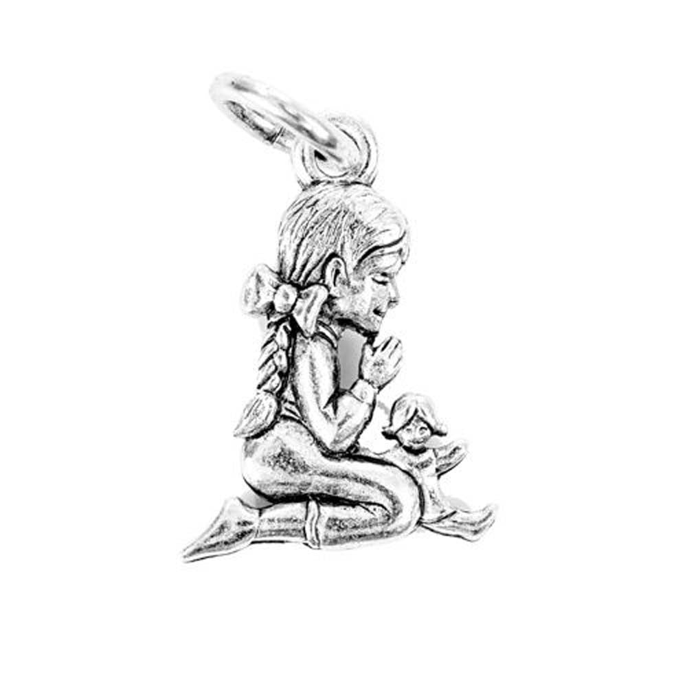 Praying Girl Silver Character Charm