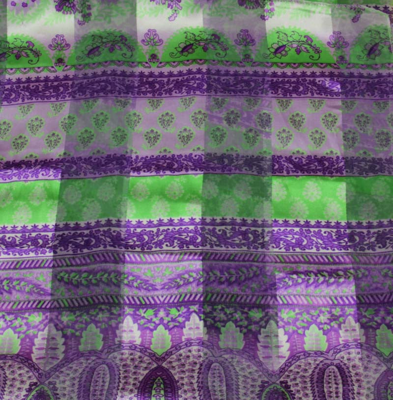 "Long Scarf 60"" x 13"" Purple/Green Design"