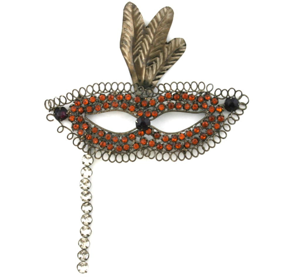 Mask with Stick Ornament Gold Stones
