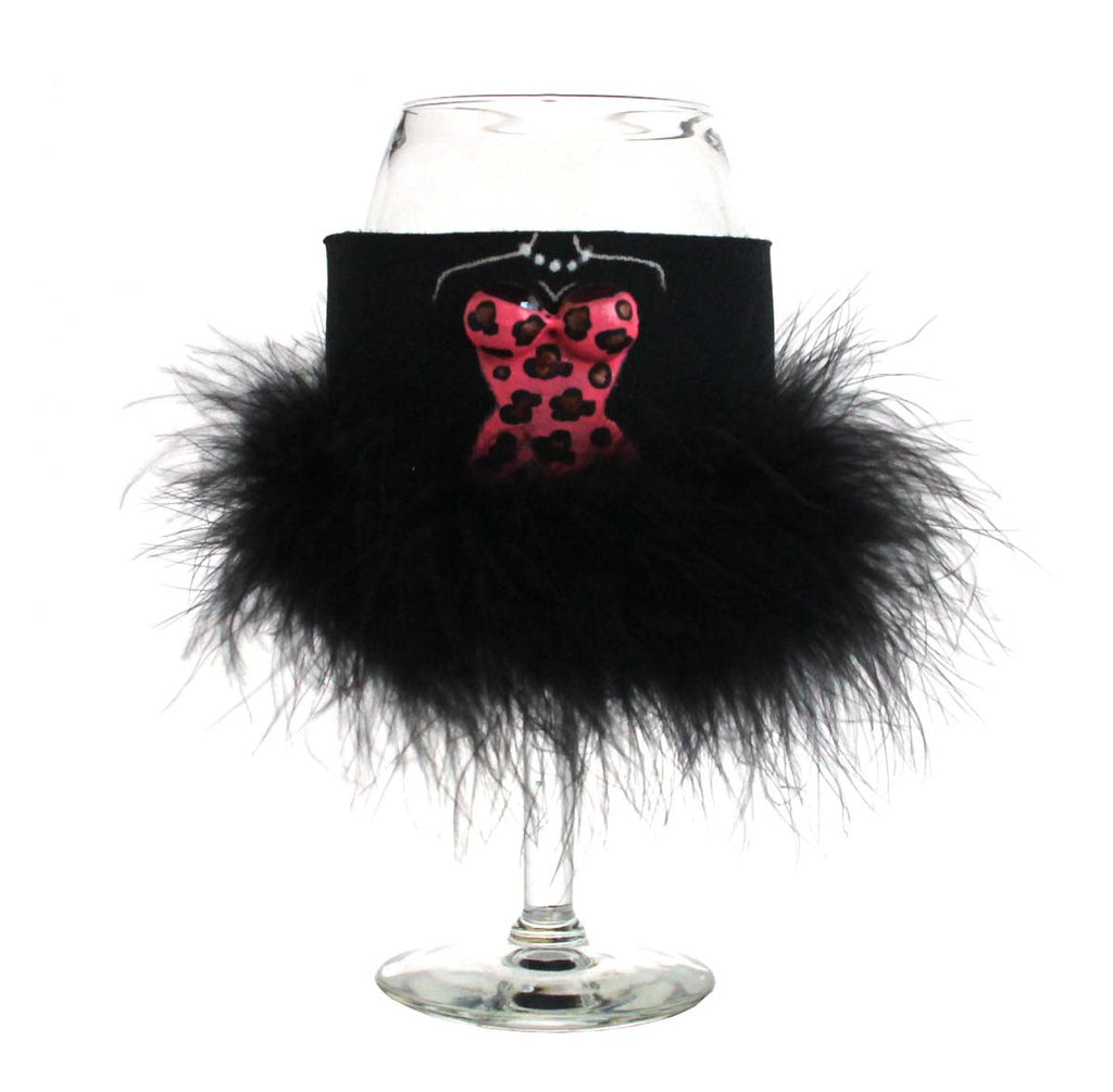 Tipsie on Wine Glass Black Feathers