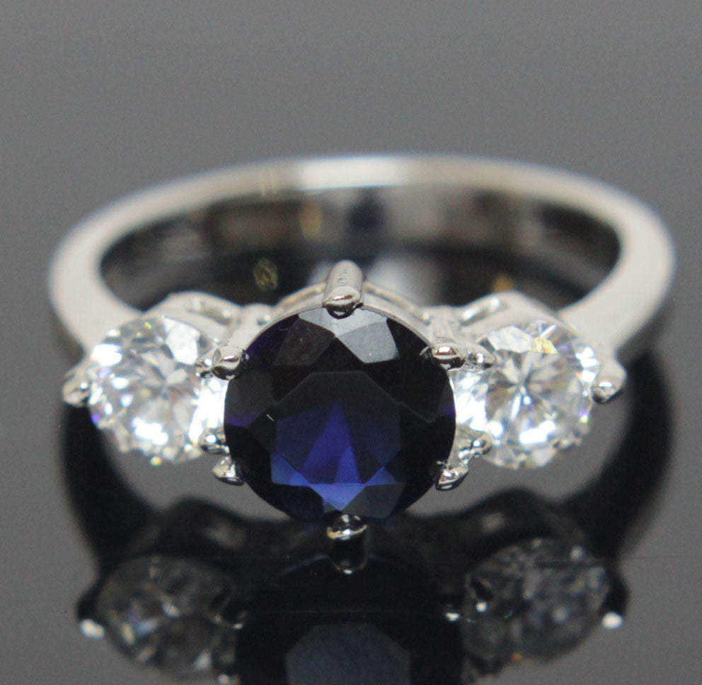 Sterling Silver Sapphire Diamond CZ Ring Size 6