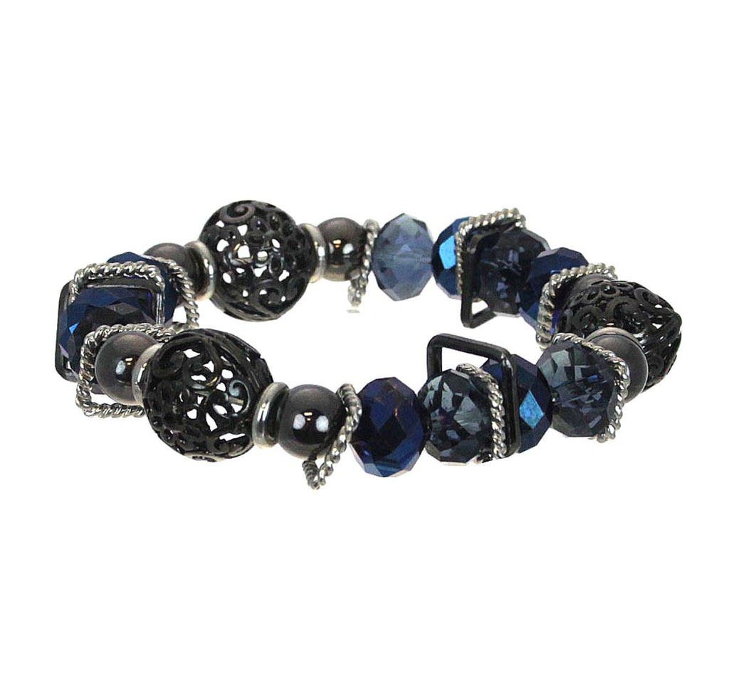Bracelet Beads with Metal Navy