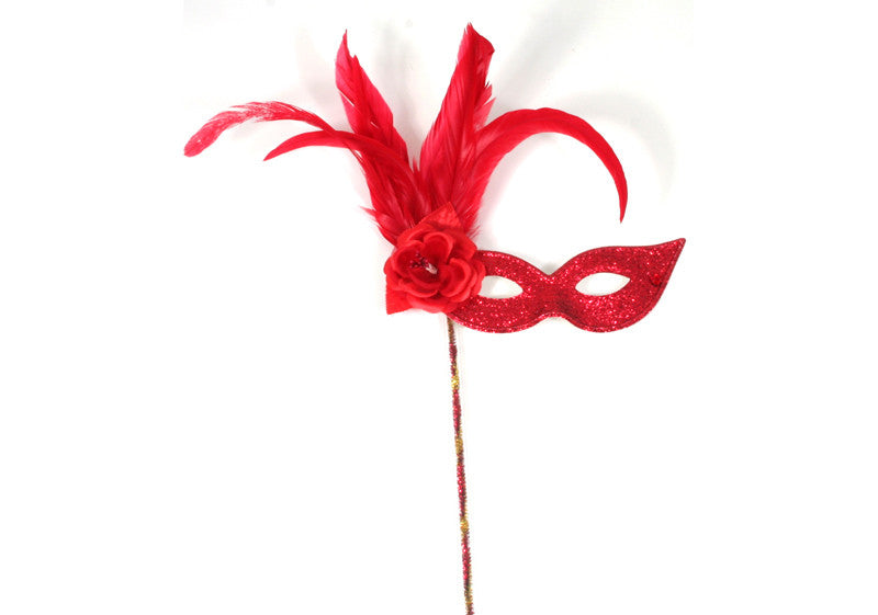 Mask on Stick w/Rose Red