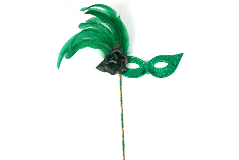 Mask on Stick w/Rose Green