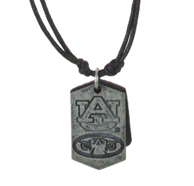 Dog Tag Leather Cord Necklace Auburn
