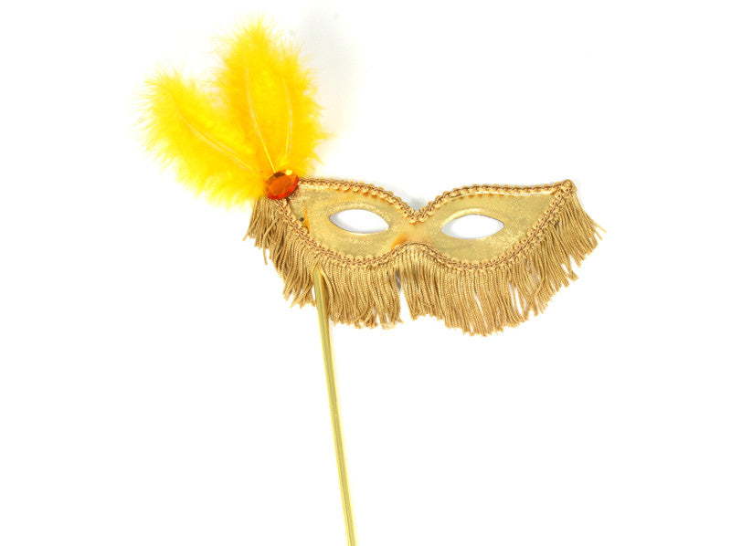 Mask on Stick Fringe Gold
