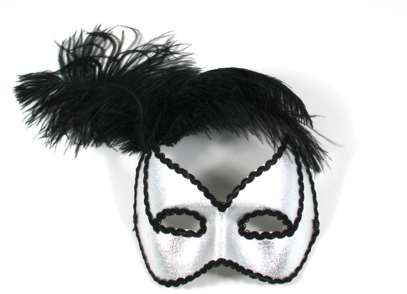 Black Feathers Silver Mask