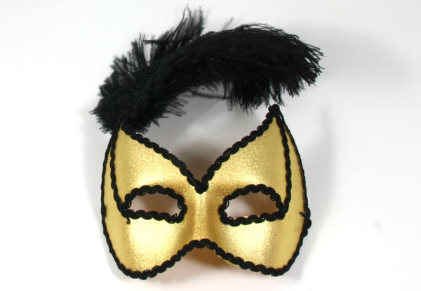 Black Feathers Gold Mask