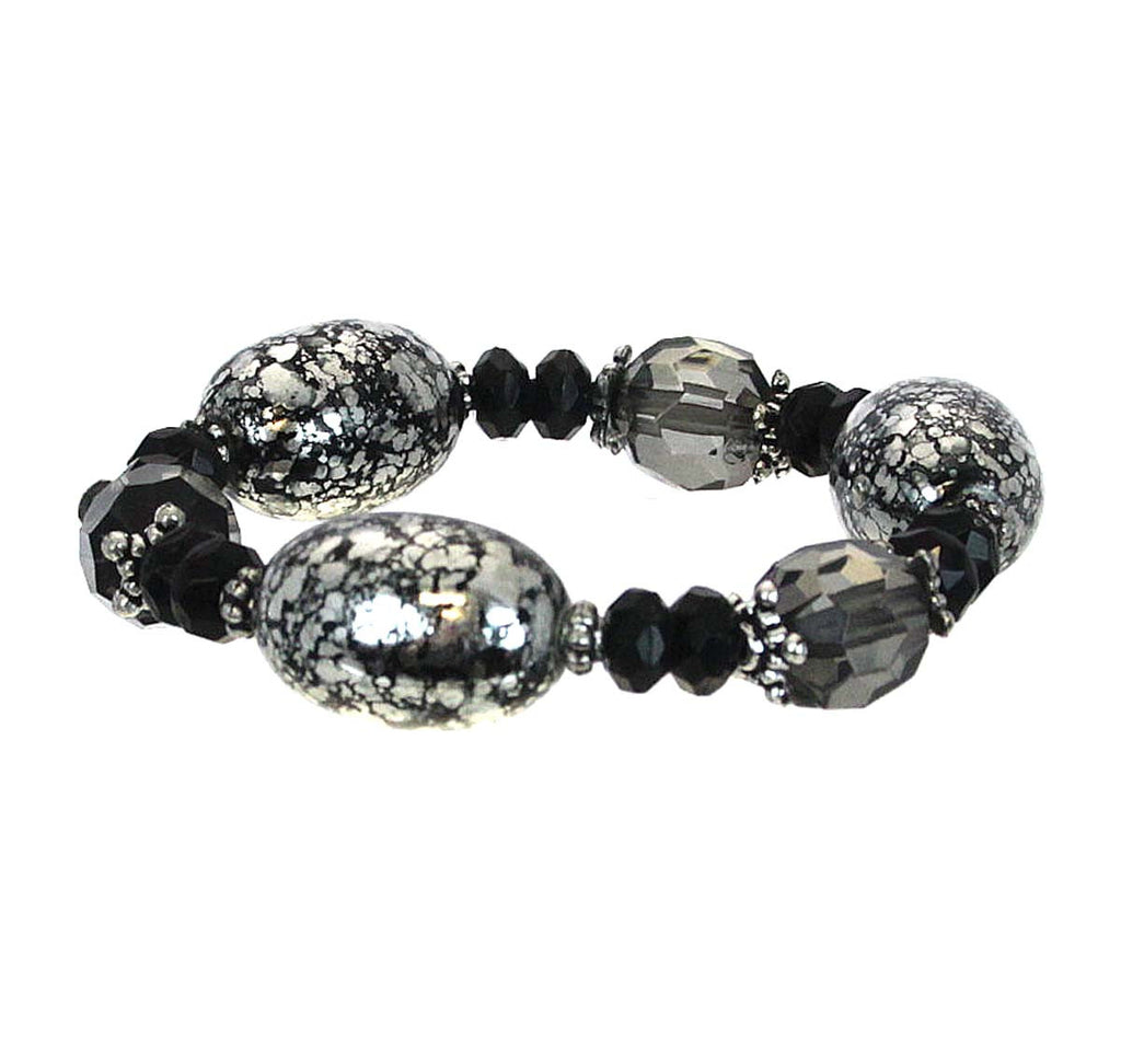 Bracelet Beaded Black Tones