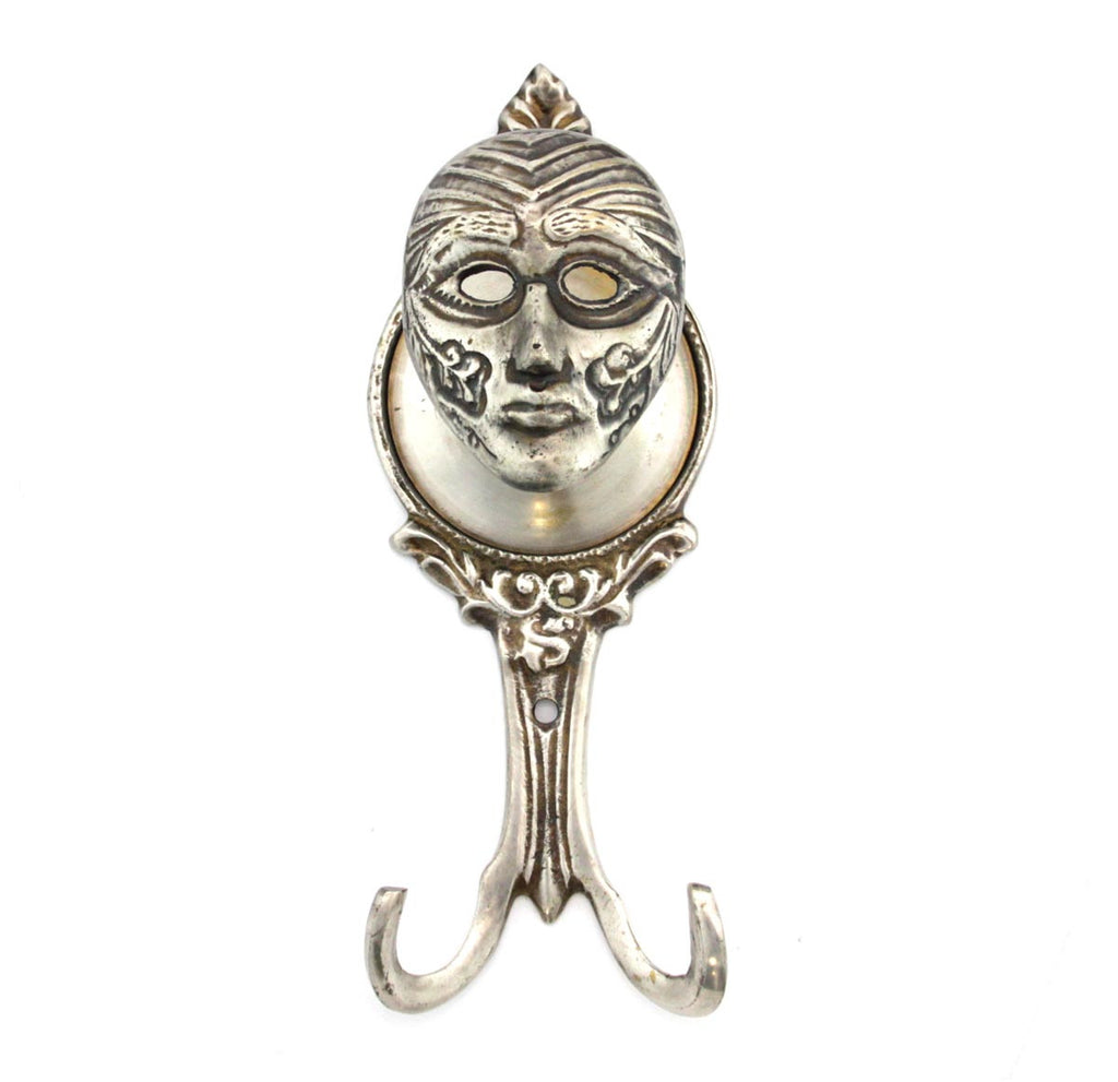 Mask Wall Hook Antique Silver