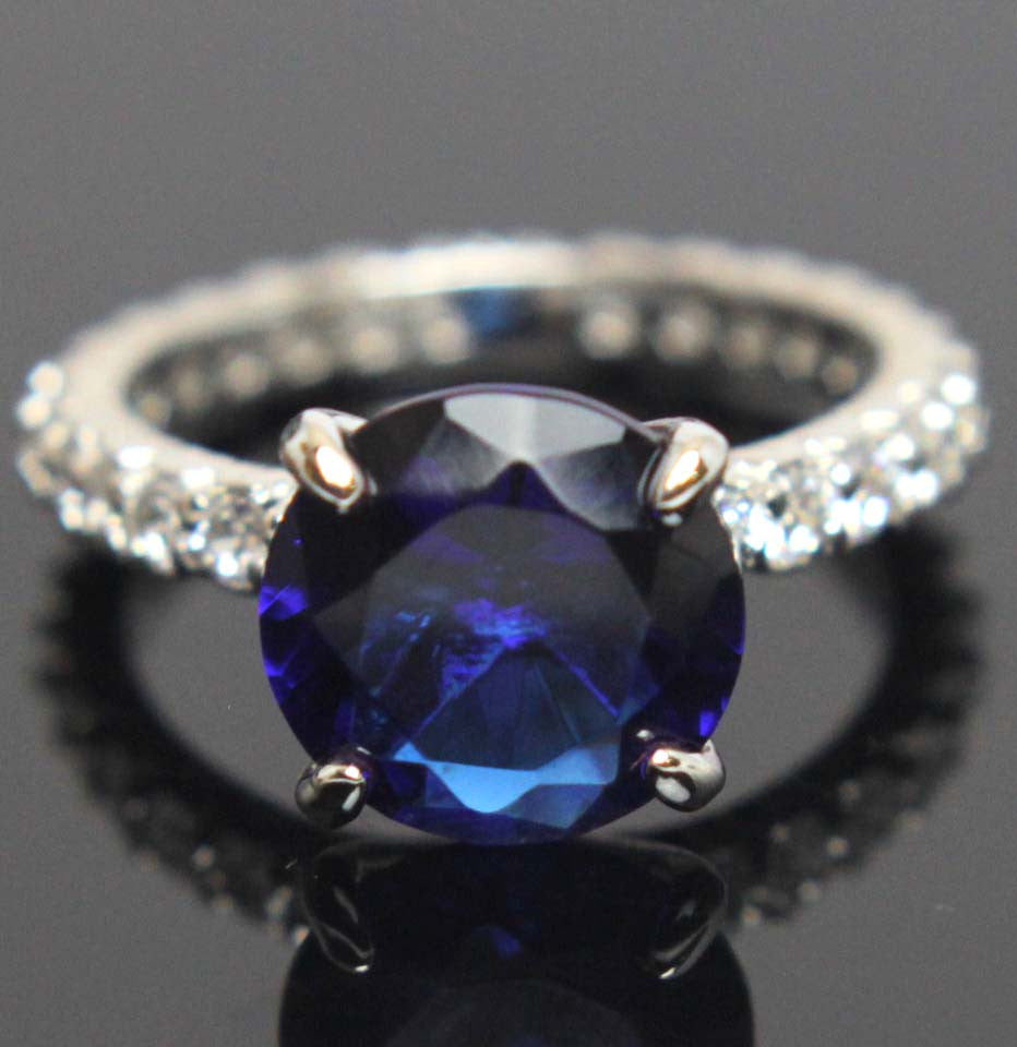 Sterling Silver Sapphire CZ Round Ring Size 6