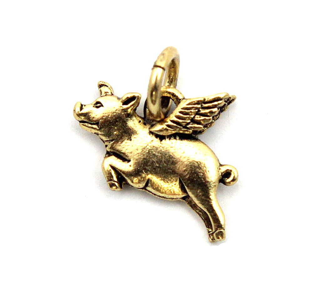 Pig Flying Gold Character Charm