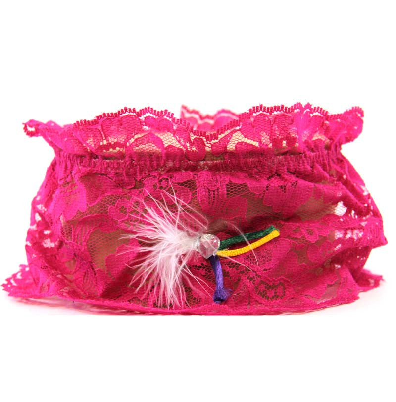 Garter Fuchsia Lace Feather