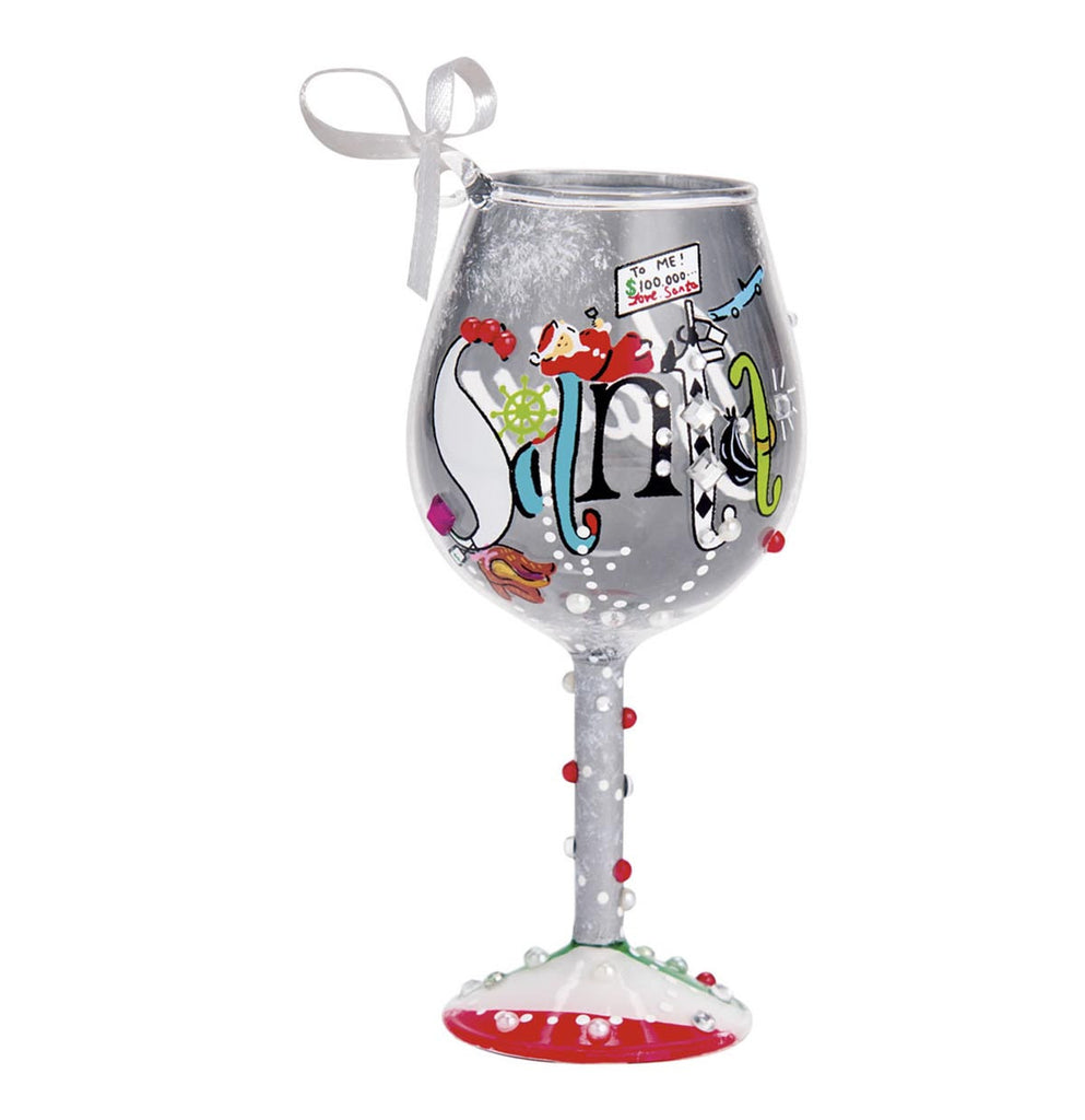 Lolita Santa Baby Mini Wine Glass Ornament