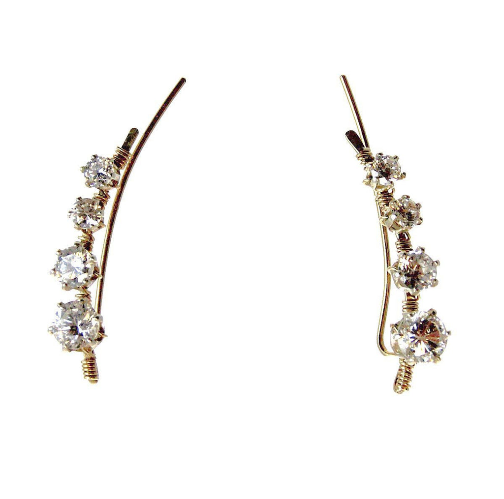 Ear Vine, Gold with Cubic Zirconia