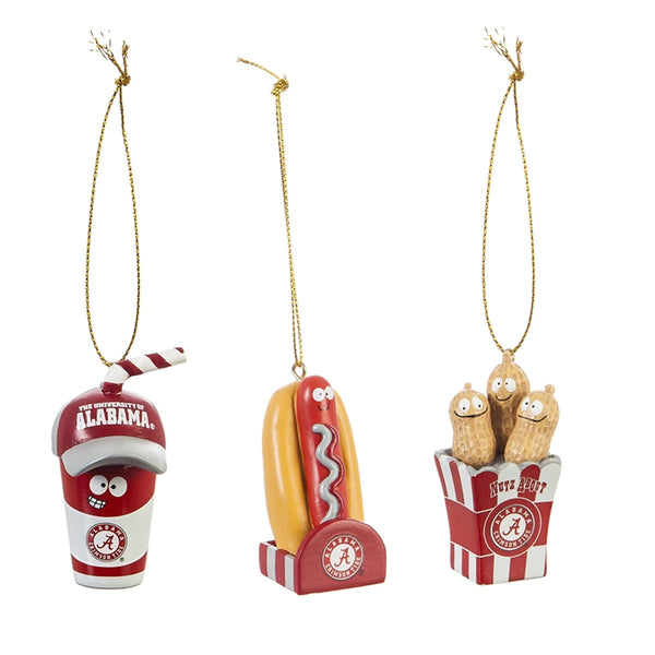 University of Alabama, Snack Pack Ornaments, set of 3
