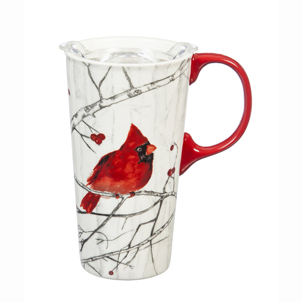 Cardinal on Branch Ceramic Travel Cup