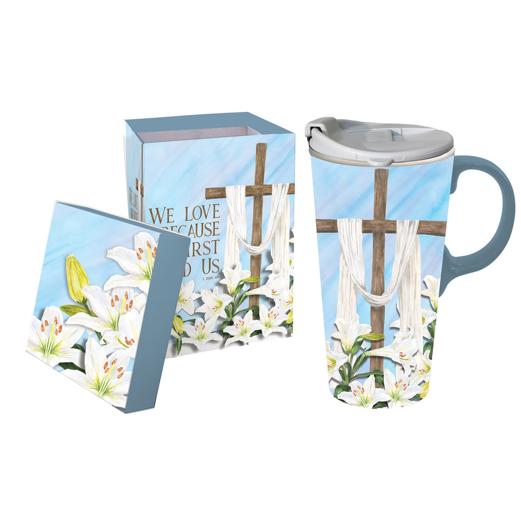 Ceramic Travel Cup w/ Box He is Risen