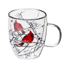 12 oz Cardinal on Branch Glass Cafe Cup
