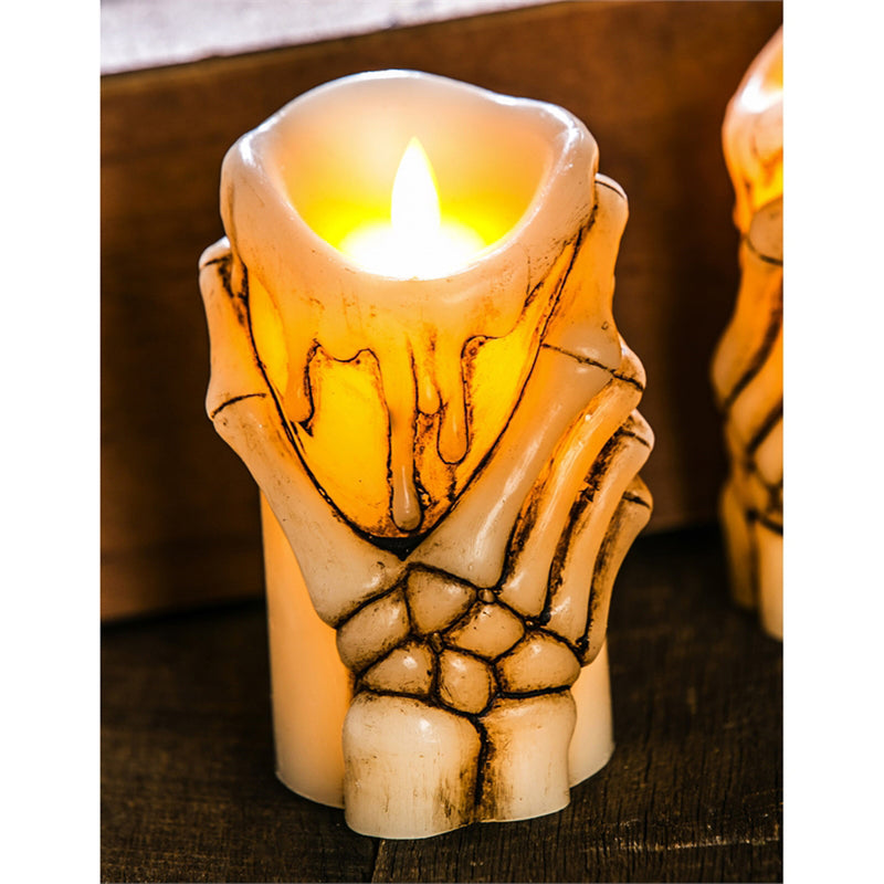 LED Skeleton Hand Candle w/moving wick & timer