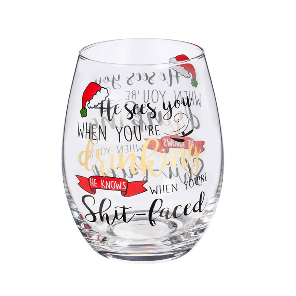 "Stemless Wine Glass ""Santa Sees You..."" w/Giftbox"