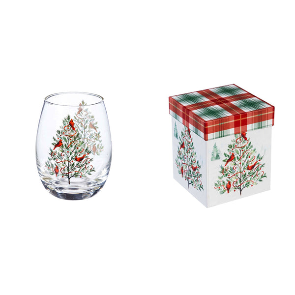 Christmas Heritage 17 ounce Stemless Wine Glass w/ Box