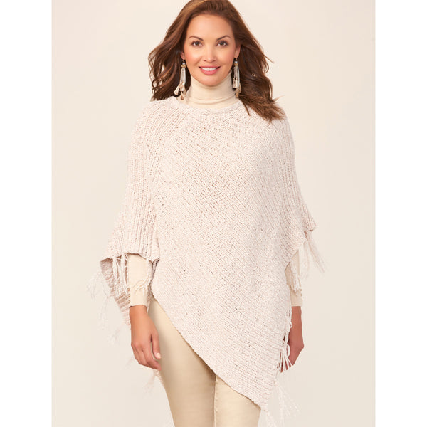 Charlie Paige Asymmetrical Crocheted Poncho with Fringe, Neutrals