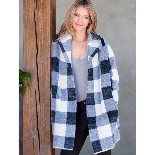 Charlie Paige Plaid Hooded Coatigan