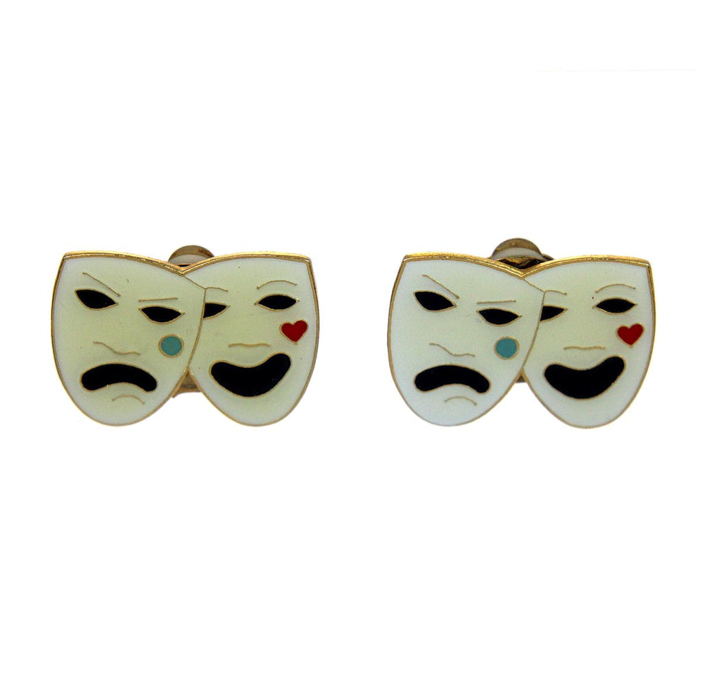Comedy & Tragedy Clip Earrings