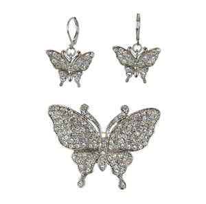 Butterfly Pin/Pendant Earrings Set