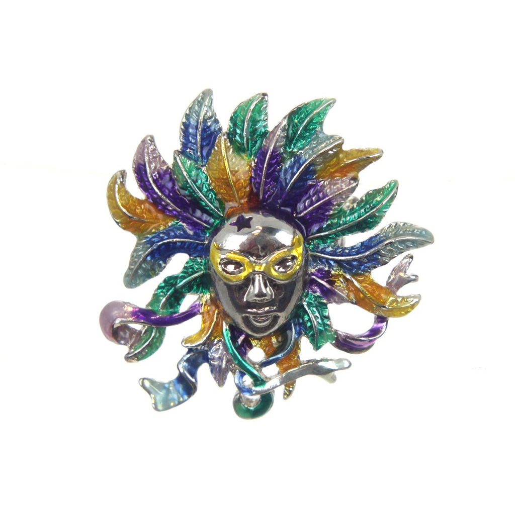 Mask with Feathers Pin Mardi Gras