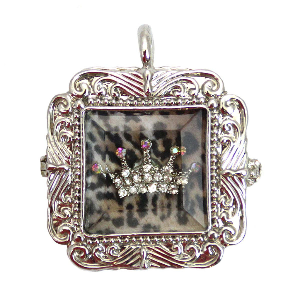 Crown Shadow Box Pendant with Leopard pattern