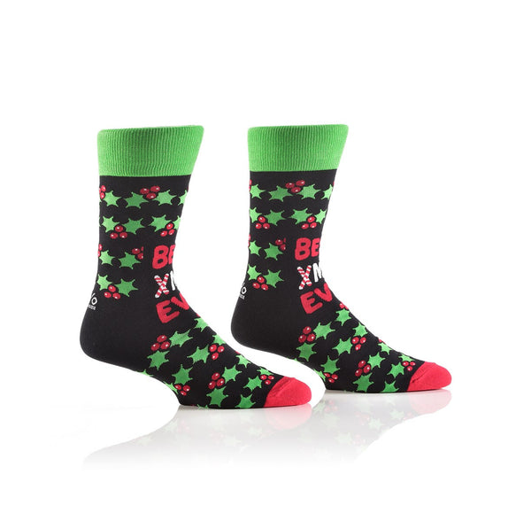 YO SOX  Men's Holiday Crew Sock, Best Christmas Ever