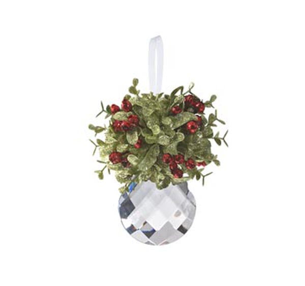 Mini Mistletoe Krystal Ornament - Tear Drop